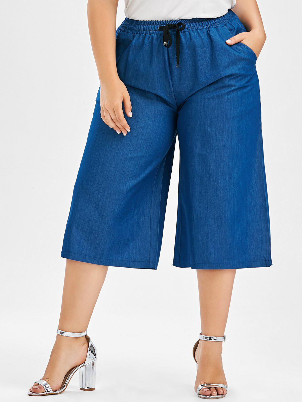 Best Plus Size Drawstring Wide Leg Crop Pants
