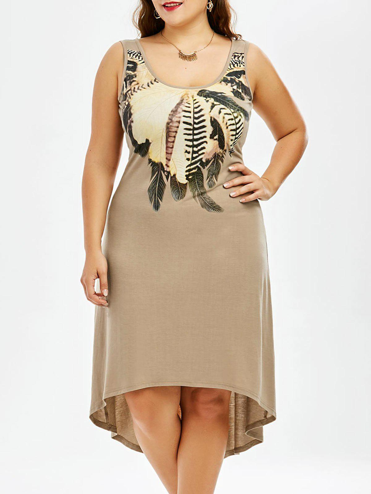 Plus Size High Low Hem Sleeveless Dress with Feather PrintWOMEN<br><br>Size: XL; Color: KHAKI; Style: Casual; Material: Polyester,Spandex; Silhouette: A-Line; Dresses Length: Knee-Length; Neckline: Scoop Neck; Sleeve Length: Sleeveless; Pattern Type: Feather; With Belt: No; Season: Summer; Weight: 0.4800kg; Package Contents: 1 x Dress;