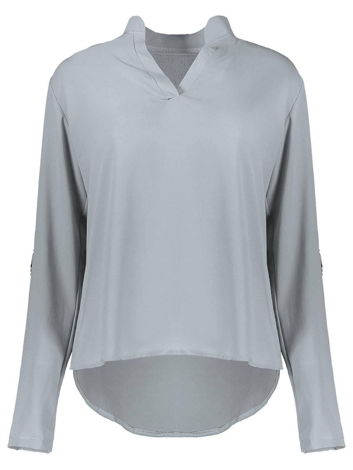 Best Concise Solid Color V-Neck 3/4 Sleeve Chiffon Blouse For Women