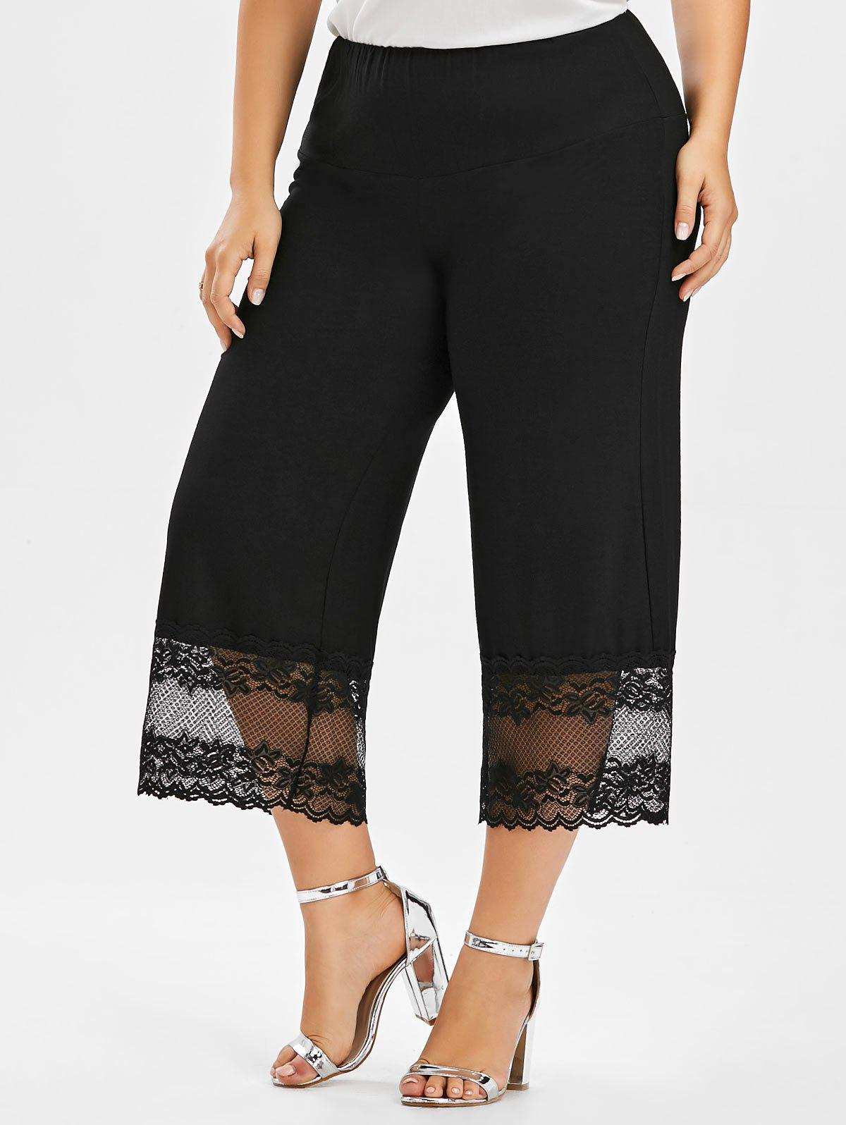 Plus Size Lace Trim Wide Leg PantsWOMEN<br><br>Size: XL; Color: BLACK; Style: Casual; Length: Capri; Material: Polyester; Fit Type: Loose; Waist Type: Mid; Closure Type: Elastic Waist; Pattern Type: Solid; Pant Style: Wide Leg Pants; With Belt: No; Weight: 0.2700kg; Package Contents: 1 x Pants;