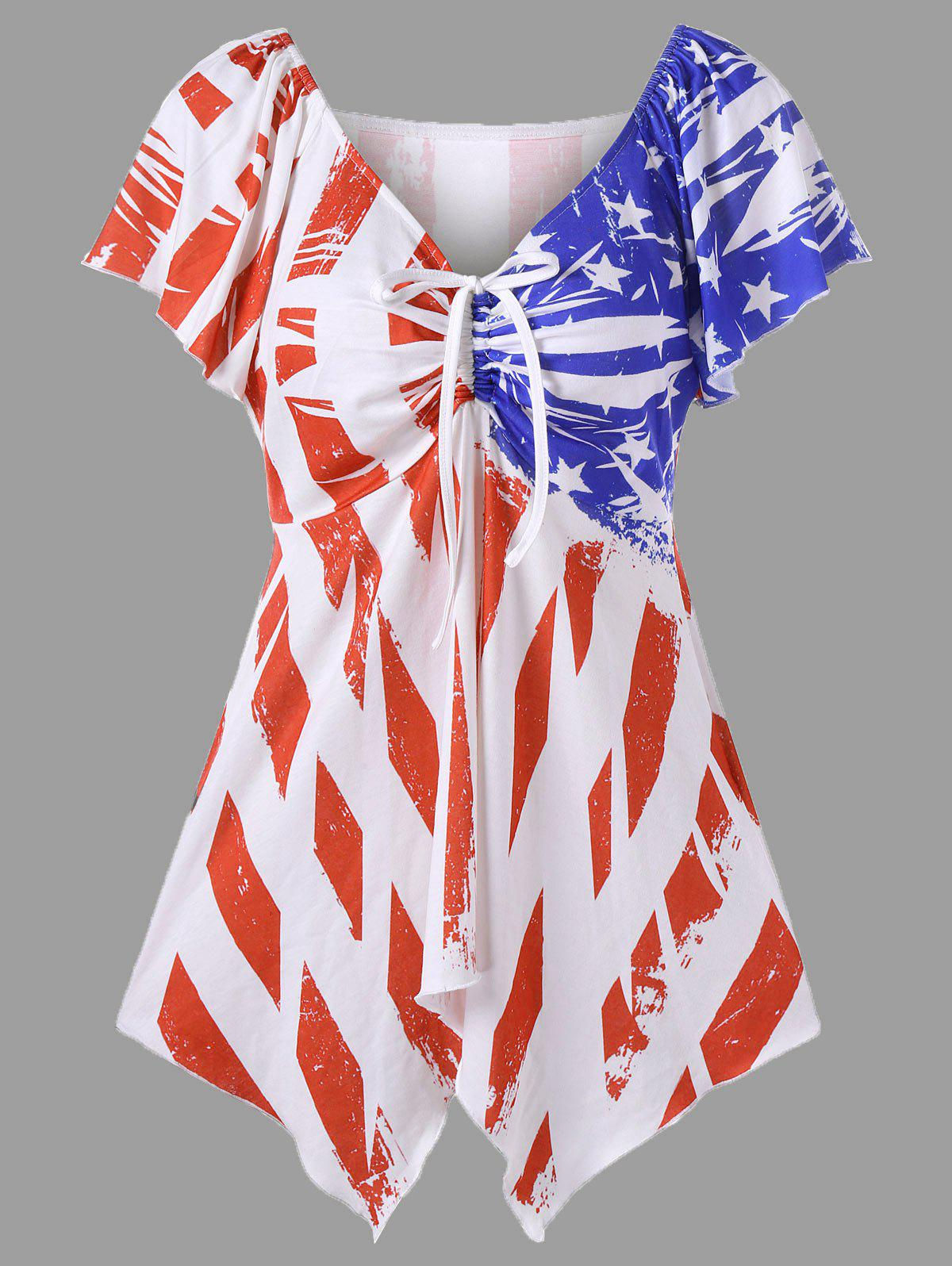 Shop Distressed American Flag Plus Size Swing Top
