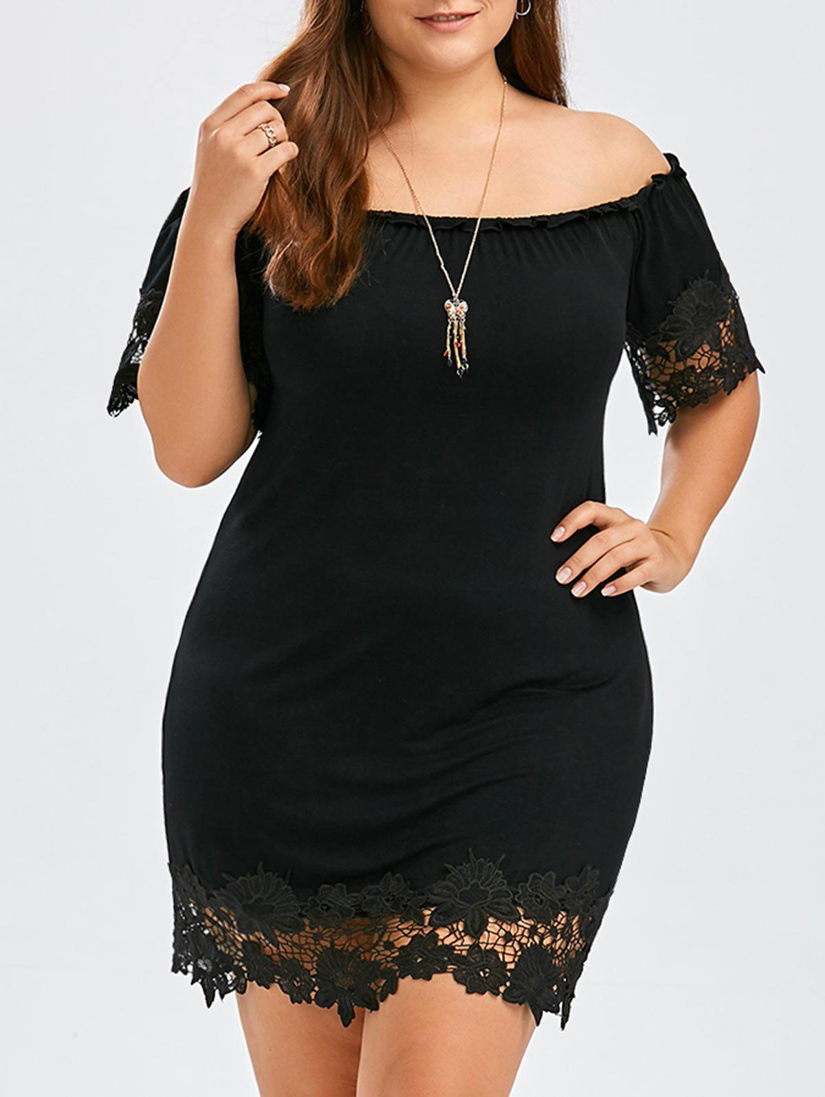 Off Shoulder Plus Size Cocktail Mini Tight DressWOMEN<br><br>Size: XL; Color: BLACK; Style: Brief; Material: Polyester,Spandex; Silhouette: Sheath; Dresses Length: Mini; Neckline: Off The Shoulder; Sleeve Length: Short Sleeves; Pattern Type: Floral; With Belt: No; Season: Summer; Weight: 0.3500kg; Package Contents: 1 x Dress;