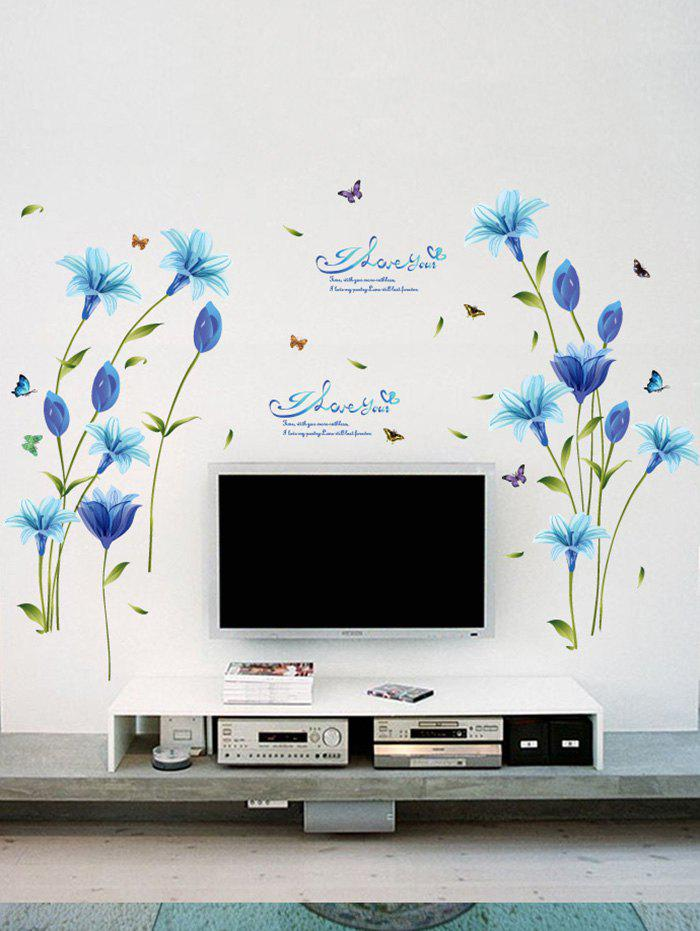 Lily Flower Vinyl Wall Art StickerHOME<br><br>Size: 60*90CM; Color: BLUE; Wall Sticker Type: Plane Wall Stickers; Functions: Decorative Wall Stickers; Theme: Florals; Material: PVC; Feature: Removable; Weight: 0.3889kg; Package Contents: 1 x Wall Stickers;