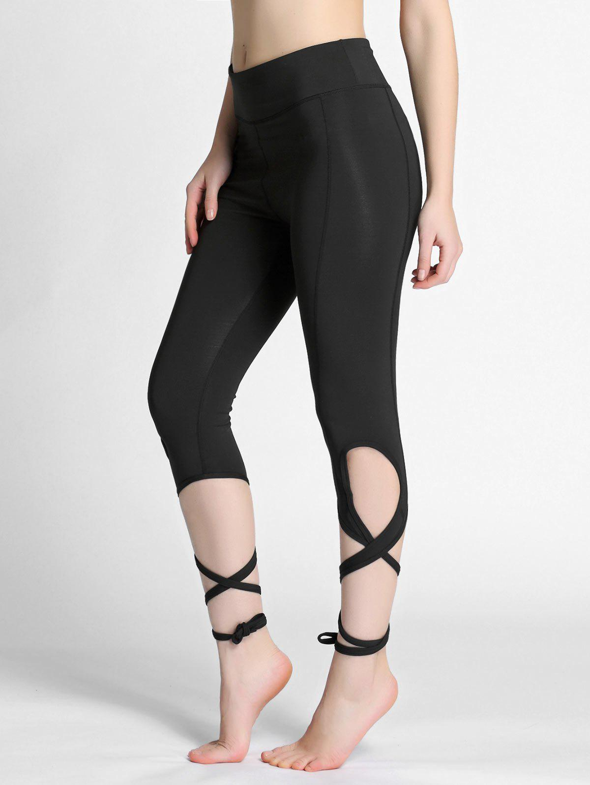 f0524fa1f82fe 12% OFF] High Waisted Lace Up Gym Leggings | Rosegal