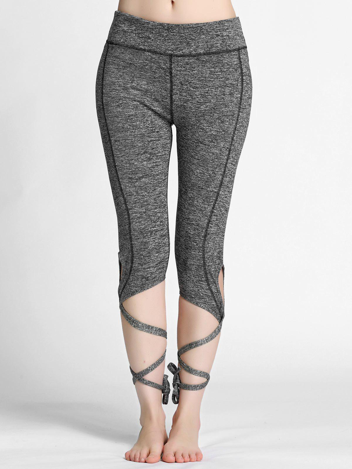 aac9b23dcbbe2 21% OFF] High Waisted Lace Up Gym Leggings | Rosegal