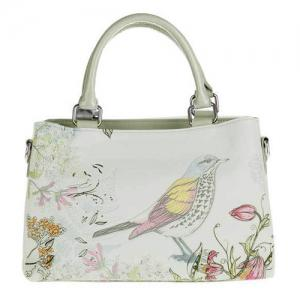 Flower and Bird Painted Tote Bag