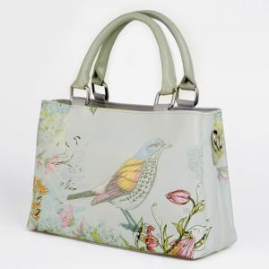 Flower and Bird Painted Tote Bag - WHITE