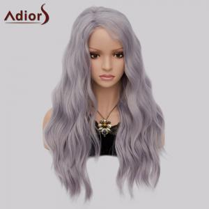 Adiors Long Side Part Shaggy Big Wave Heat Resistant Synthetic Wig - LAVENDER FROST