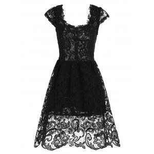 Lace Short Skater Homecoming Formal Dress - Black - Xl