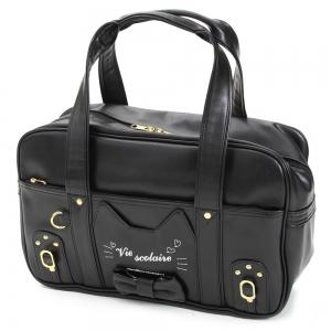 Bowknot Cat Patch Tote Bag - Black - 39