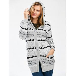 Hooded Button Up Geometric Cardigan - GRAY S