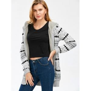 Hooded Button Up Geometric Cardigan - GRAY M