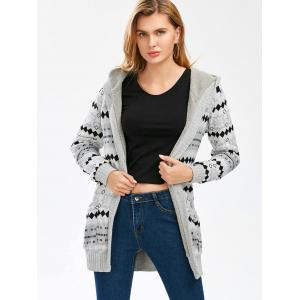 Hooded Button Up Geometric Cardigan - GRAY L