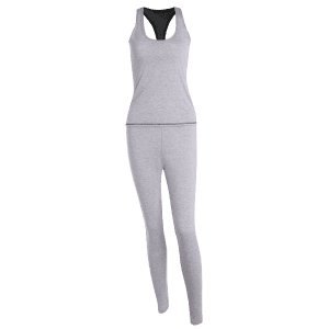 Color Block Tank Top and Stretch Pants Yoga Suit -