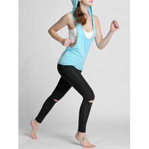 Hooded Running Workout Gym Tank Top - WINDSOR BLUE S