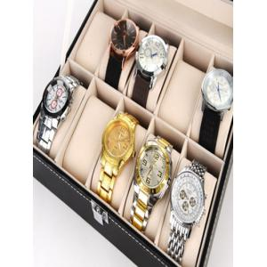 10 Grids Collection Classic Leather Watch Case Display Box - Noir
