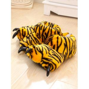 Tiger Stripes Leopard Print Bear Claw Peluche Talon Cover Couples Slippers - Jaune