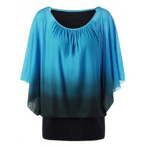 Ombre Butterfly Sleeve Plus Size T-Shirt - Lake Blue - 4xl