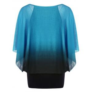 Ombre Butterfly Sleeve Plus Size T-Shirt - LAKE BLUE 4XL