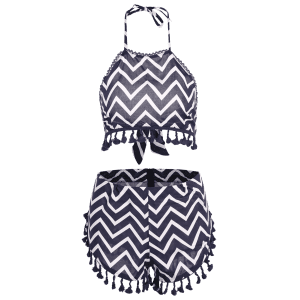 Halter Zig Zag Crop Top and Dolphin Shorts Suit - PURPLISH BLUE XL