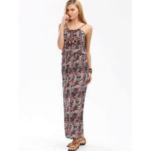 Paisley Print Maxi Boho Slip Beach Dress - BLACK AND RED ONE SIZE