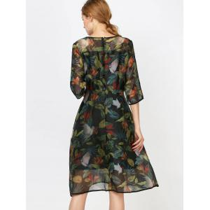 Fashionable Collar Printed Organza Dress Sleeve For Women - INK PAINTING S