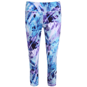 High Stretchy Printed Cropped Leggings - BLUISH VIOLET XL