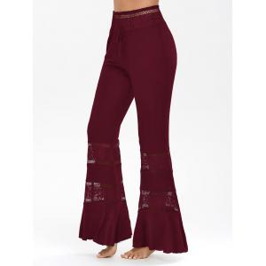 Lace Tassel Insert Long Flare Palazzo Pants - Wine Red - 2xl