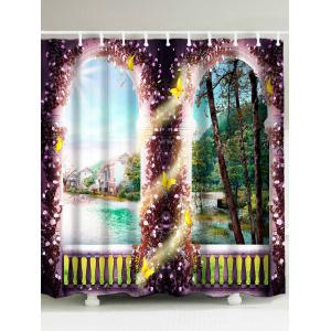 Flower Gate House Lake Waterproof Shower Curtain - Colorful - W59 Inch * L71 Inch