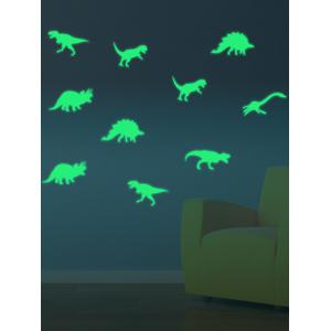 Cartoon Dinosaur Animal Luminous Wall Art Stickers - Neon Green - 21*29cm