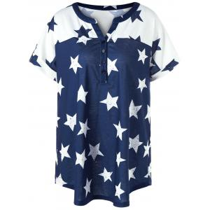 Plus Size Star Henley Tee