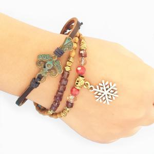 Snowflake Wooden Beaded Adjustable Charm Bracelet