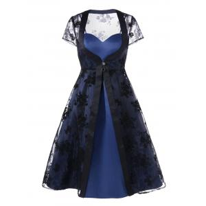 Slit Dress with Organza Duster Coat - Black And Blue - L
