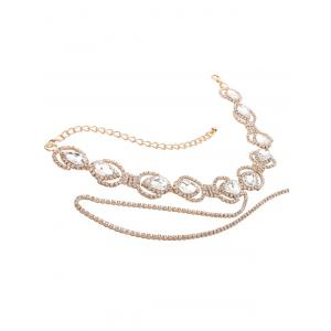 Sparkly Rhinestone Faux Crystal Alloy Chain Necklace - GOLDEN
