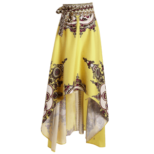 High Waisted High Low Hem Skirt - YELLOW M