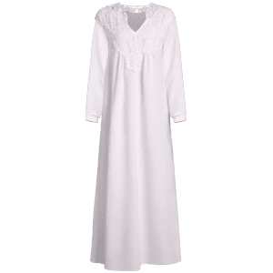 Long Sleeve Crochet Flower Casual Maxi Dress - WHITE L