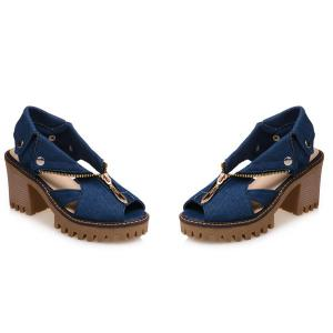 Zipper Denim Sandals - DEEP BLUE 37