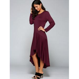High Low Pleated Long Formal Dress with Sleeves - WINE RED M