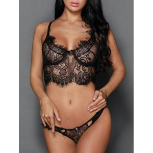 Transparent Balconet Push Up Mesh Lace Underwire Bra Set -