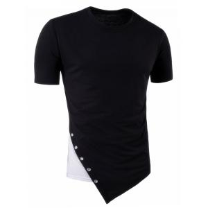 Asymmetric Metal Circle Design Color Block Panel Longline T-Shirt
