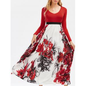Full Sleeve Floral Empire Waist A Line Maxi Dress