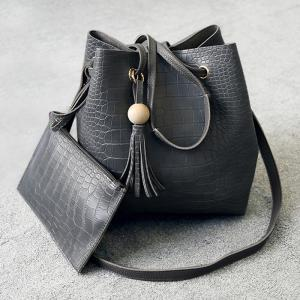 Crocodile Pattern Pouch Bag and Bucket Bag