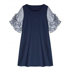 Plus Size Ruffle Sleeve Shift Dress