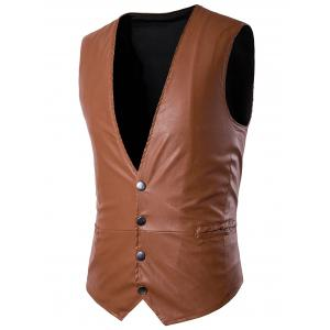 PU Leather V Neck Single Breasted Belt Design Waistcoat - Light Brown - L