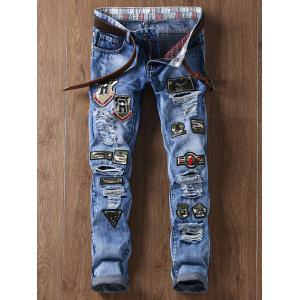 Camouflage Appliques Straight Leg Distressed Jeans - Blue - 36