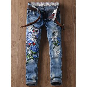 Floral and Owl Embroidered Straight Leg Ripped Jeans - Blue - 38