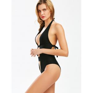 Hollow Out Halter High Cut Swimsuit - BLACK M