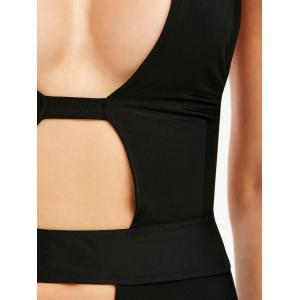 Hollow Out Halter High Cut Swimsuit -