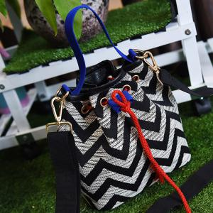 Chevron Stripe Cross Body Bucket Bag - BLACK
