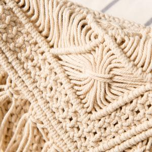Crochet Fringed Cross Body Bag - WHITE